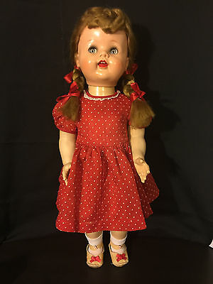 Ideal Saucy Walker Doll Hp 1950's Vtg. 22'' Tall Blonde Hair And Blue Eyes