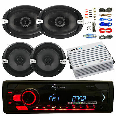 "JVC CD Car USB Stereo, 400W Bluetooth Amp and Kit, JVC 6""x9"" and 6.5"" Speakers"