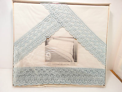 Vtg Double Bed Embroidered Bed Sheet & 2 Pillow Case Set Never Used 1960s