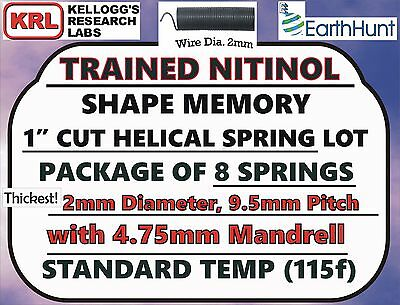 "8x Lot NITINOL HELICAL SPRINGS (1"" x THICK 2mm) Standard Temp 115f Shape Memory"