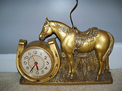 Antique vintage Mastercrafters Rodeo Horse electric clock Chicago #902