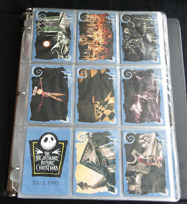 Nightmare Before Christmas 1993 Skybox Trading Card Set of 90 in Binder pages