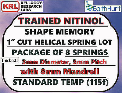 "8x Lot NITINOL HELICAL SPRINGS (1"" x THICK 3mm) Standard Temp 115f Shape Memory"