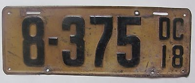1918 District of Columbia car license plate