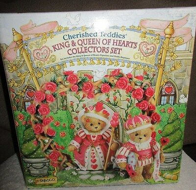 CHERISHED TEDDIES Valentines Love Romance Set Retired King & Queen Of Hearts