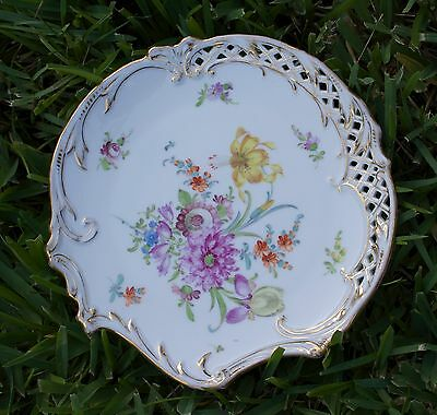 Dresden Porcelain Plate 2 Hand Painted Flowers Reticulated Gold Ambrosius Lamm