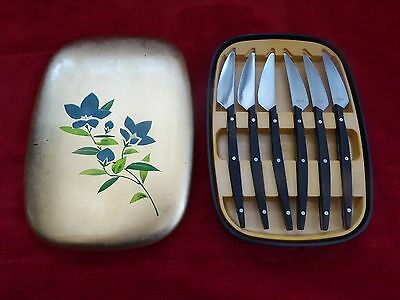 RARE VINTAGE JAPANESE 6 PIECE STEAK KNIFE CUTLERY SET WITH BOX BY MAC c1960