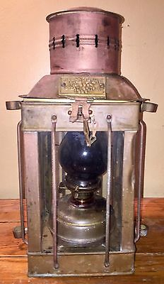 Great Antique Copper Ship Lantern Circa 1939 Great Britain No. 3954 NO RESERVE!