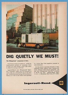 1969 Ingersoll Rand Whisperized Gyro Flow Portable Diesel Compressor Magazine Ad