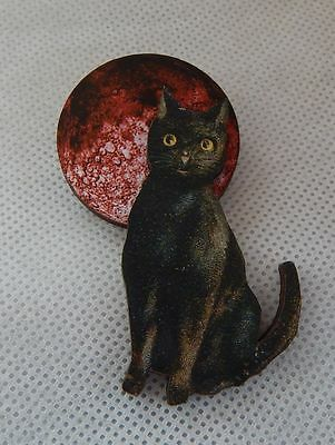 Black Cat & Blood Moon Brooch or Scarf Pin Wood Accessories NEW Red Fashion