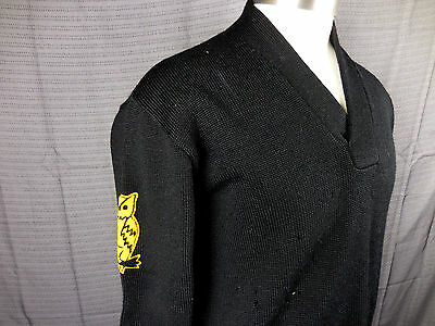 Vintage 40's 50's Wool Shawl Collar Sweater College Varsity Owl Patch Lamb Knit