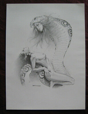 Boris Vallejo~Fantasy/Pin Up~Nude Woman with Cobra snake