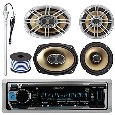 "MP3/USB/AUX Bluetooth Marine Receiver, 2x Polk 6.5"", 2x 6X9"" Speakers, Antenna"