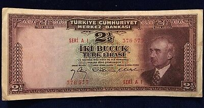 1930 2 1/2 Lira Note From Turkey Beautiful Foreign Piece!