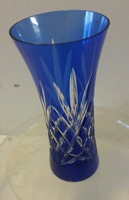 "Bohemian Czech Blue Cut To Crystal Glass Vase 5 7/8"" Tall"