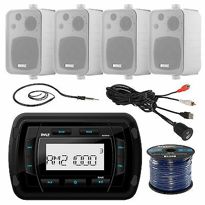 "4"" White Box 200W Speaker Set, Antenna, Bluetooth AUX USB Stereo, USBAUX Cable"