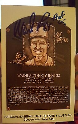 Wade Boggs Signed Hall of Fame Postcard Autographed