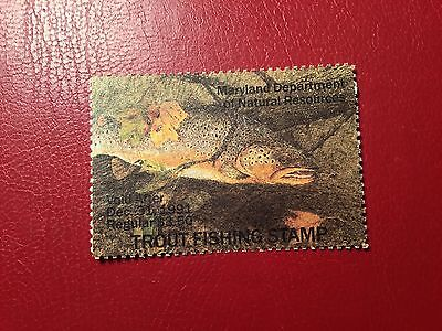 Maryland 1991 Adult Trout Stamp Mint  (NC312)