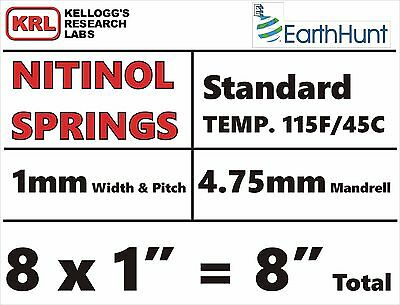 "8x Lot NITINOL HELICAL SPRINGS (1"" x 1mm) Standard Temp 115f Shape Memory NiTi"