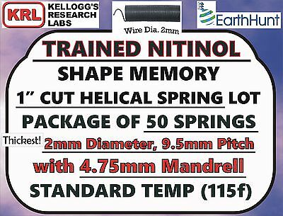 "50x Lot NITINOL HELICAL SPRINGS (1"" x THICK 2mm) Standard Temp 115f Shape Memory"
