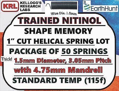 "50x Lot NITINOL HELICAL SPRINGS (1""x 1.5mm) Standard Temp 115f Shape Memory NiTi"