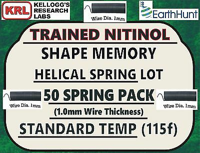 "50x Lot NITINOL HELICAL SPRINGS (1"" x 1mm) Standard Temp 115f Shape Memory NiTi"