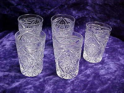 Pressed Cut Fire Polished Geometric Hobstar Glass Tumbler Lot of 5 Crystal