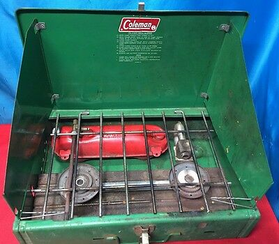Vintage Camping Cooking Coleman Portable 425F 499G Compact 2 Burner Gas Stove