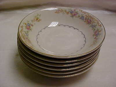 Vintage 1940's Paden City Pottery China Floral on Cream Gold trim Bowl Lot of 6