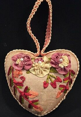 Vintage Antique Victorian Style Pincushion Heart Shaped Pearls Twos Company