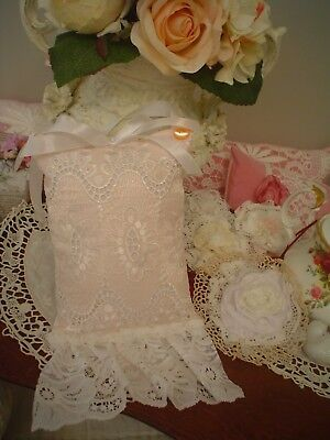 Pink hat girl.crochet lace,Vintage Crystal Glass buttons,Keepsake White Pillow