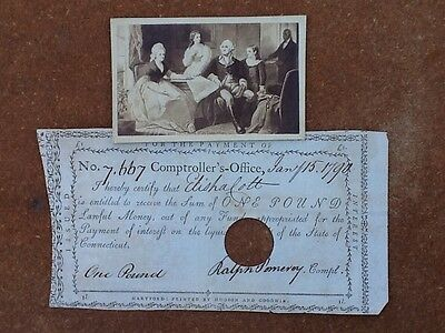 Patriotic CDV-George Washington & Family-w1790 Colonial Note-Connecticut-RARE