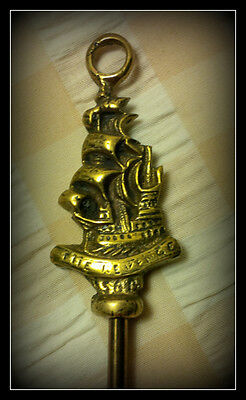 Vintage Brass Toasting Fork -Galleon Ship The Revenge- Design -