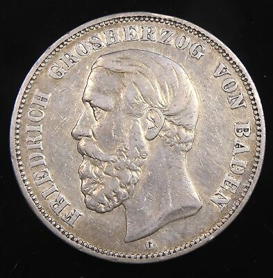 1876G German States Baden 5 Mark