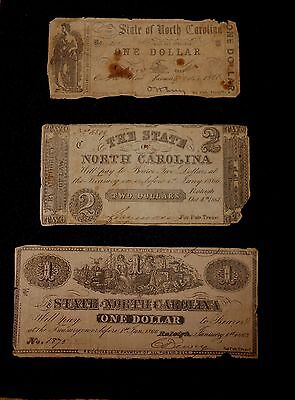 Lot of 3 Confederate State of North Carolina Notes / Currency-$1 & $2  NC