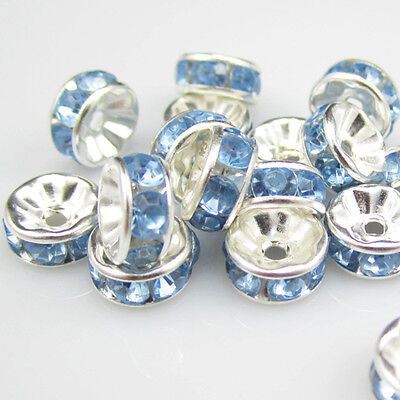 Jewelry Making 20pcs 8mm Plated silver crystal spacer beads FREE SHIPPING B&15