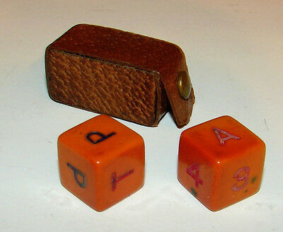 """Vintage Pair of DICE 9/16"""" Letters """"Put and Take Dice"""" Leather Snap Case"""