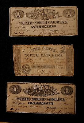 $1 & $2 Lot of 3 Confederate State of North Carolina Notes / Currency-  NC