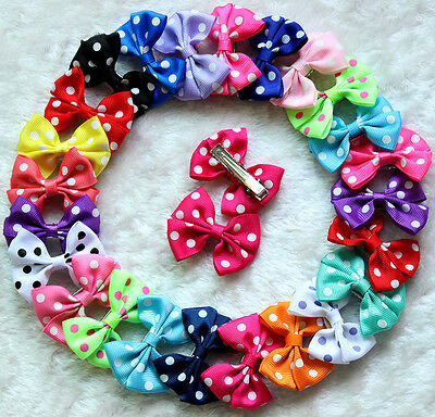 Mix Color Polka Dots Pet Hair Clips Dog Hair Bows Dog Grooming Hair Accessories