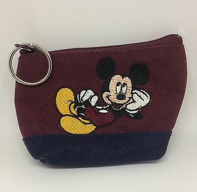 Mickey Mouse Wallet Coin Purse Official Disney Fabric Maroon Zipper Zip