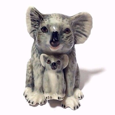 Miniature Mommy & Baby Koala Bear Ceramic Animal Figurine Collectibles Decor
