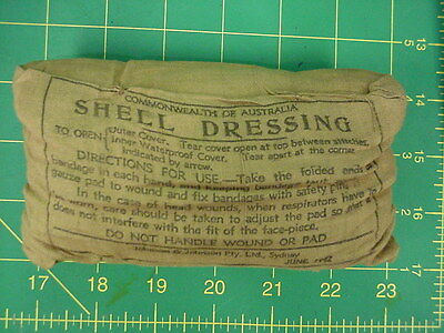 1942., Shell Dressing Australian Manufactured, Tan Cotton Pack, Unused, (from US