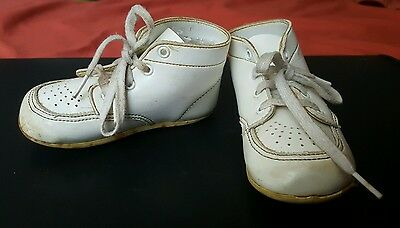 Vtg WEE WALKER White Leather Baby Toddler High Top Walking SHOES w Laces 40s 50s