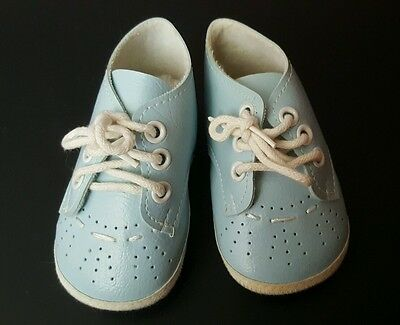 Vtg Baby Boy's BLUE Soft & Cozy LEATHER Crib SHOES w White Laces 1970s Retro