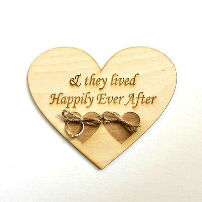 Ring bearer pillow alternative, wood heart, happily ever after