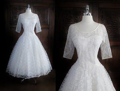 Vintage 50's Sweetheart Antique White Illusion Lace Satin Wedding Dress M