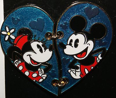 DISNEY 2016 Mickey and Minnie Two Piece Heart Pin NEW ON ORIGINAL CARD