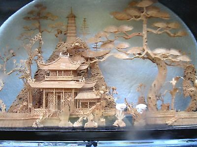 CHINESE DIORAMA EX-Large CORK ART SCULPTURE LACQUER FRAMED VGC