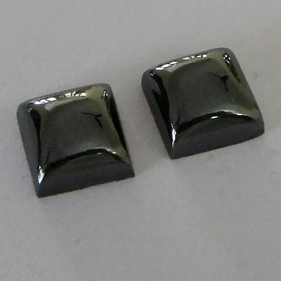 Gemstone Hematite Square 2Piece Cabochon 8x8x4mm 9.5Cts  Wholesale # 11376