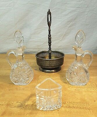 Vintage EALES 1779 Silverplate Cut Glass Cruett Water & Wine Set Italy Religion